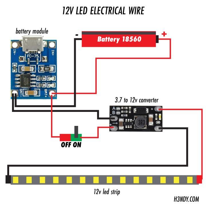 rangkai module lampu emergency portable h3ndy